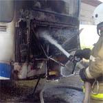 В Вязьме загорелся автобус
