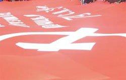 На Советской развернули знамя Победы