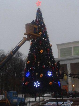 В Вязьме устанавливают новогоднюю ёлку