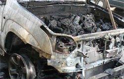 На Московской сгорел Toyota Land Cruiser Prado