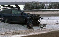 Под Успенским столкнулись 2 автомобиля, водитель погиб