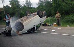 На Минке в Вяземском районе перевернулся автомобиль