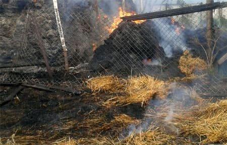 В Вязьме на ул. Железнодорожной горело сено