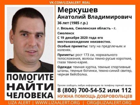 Пропал Меркушев Анатолий Владимирович