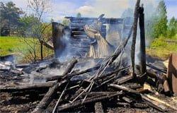 В Дачной деревне Вяземского района сгорела дача