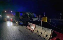 На 231-м км трассы М-1 Peugeot влетел в отбойник